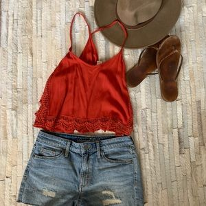 Other - Set - Cutoff Shorts and Racer Crop Top - 4/Small